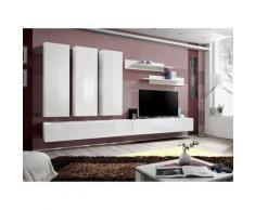 Meuble TV FLY E4 design, coloris blanc brillant. Meuble suspendu moderne et tendance pour votre