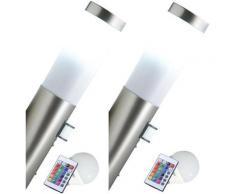 Ensemble de 2 appliques murales extérieures à capteur, spots à changement de couleur, gradateurs