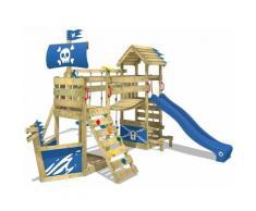 WICKEY Aire de jeux Portique bois GhostFlyer avec balançoire et toboggan bleu Cabane enfant