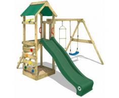 Aire de jeux bois WICKEY FreeFlyer Portique de jeux en bois Maison d'enfants avec balançoire - vert