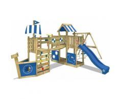 WICKEY SUPERSALE Aire de jeux Portique bois ArcticFlyer avec balançoire et toboggan bleu Cabane
