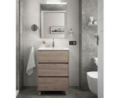 Meuble de salle de bain sur le sol 60 cm Chêne eternity avec lavabo en porcelaine | 60 cm - Avec