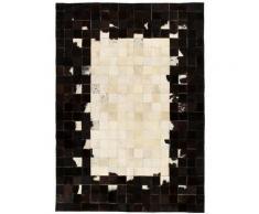 tapis cuir véritable patchwork 160 x 230 cm carré noir/blanc - Rogal