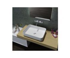 Lavabo / vasque en fonte minérale, rectangulaire à poser PB2121, 55x40x13cm