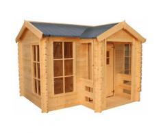 Maisonnette en Bois pour Enfants Outdoor Toys Mika 241x175,5x135 cm avec Porche