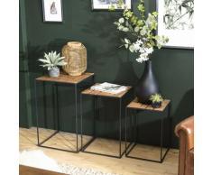 Macabane - ALIDA - Set de 3 tables d'appoint gigogne plateaux bois teck recyclé structure métal
