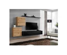 Ensemble meuble salon SWITCH V design, coloris noir brillant et chêne Wotan. - Noir
