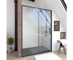 Paroi de douche à porte coulissante - CRUSH 140 - 140x200cm - PORTE COULISSANTE - PROFILE NOIR MAT