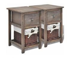 Helloshop26 - Table de nuit chevet commode armoire meuble chambre 2 pcs bois marron - Bois
