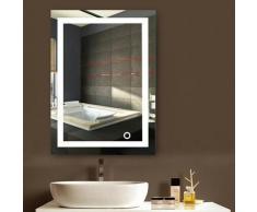 Miroir de salle de bain avec éclairage LED Miroir lumineux à LED avec interrupteur d'éclairage pour