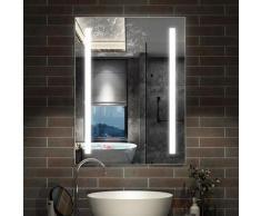 Miroir lumineux LED 70x50cm miroir de salle de bain anti-buée