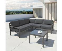 Salon de jardin en aluminium d'angle design aluminium - Gris - MIO - Gris