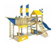 WICKEY Aire de jeux Portique bois Smart Wing avec balançoire et toboggan bleu Cabane enfant