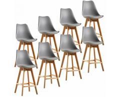Jeobest - Lot de 8 tabourets de bar pieds en bois hêtre massif - Revêtement simili PU gris
