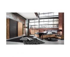 Ensemble chambre adulte complète Imitation chêne poutre, rechampis raw steel - 180 x 200 cm -PEGANE-