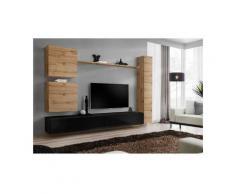 Ensemble meuble salon mural SWITCH VIII.Meuble TV mural design, coloris noir brillant et chêne