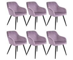 Tectake - Lot de 6 chaises velours MARILYN pieds noirs - chaise de salle à manger, chaise de