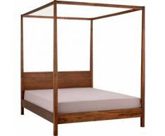 Lit double 140x200 cm avec baldaquin en bois d'acacia - MISO 8366 - Marron