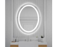 60 x 80 cm Miroir de salle de bain à LED lumineux forme ovale