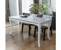 Topdeal VDTD09777_FR Table de salle à manger 116 x 66 x 76 cm Blanc haute brillance