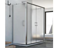 Cabine douche à trois côtés 75x160x75 CM H185 granité C modèle Replay Trio avec 2 portillons