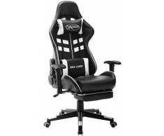 Betterlife - Chaise de jeu avec repose-pied Noir et blanc Cuir artificiel1842-A