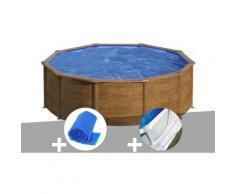 Kit piscine acier aspect bois Sicilia ronde 3,20 x 1,22 m + Bâche à bulles + Tapis de sol - GRÉ