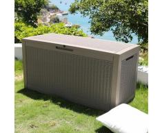 Coffre de jardin exterieur 380L Gris Effet Tressé - Caisse de rangement en plastique - Coffre de