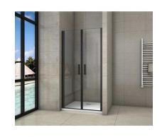 porte de douche 90x200cm porte de douche battante noir en 8mm verre anticalcaire