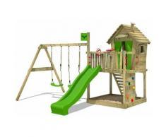 FATMOOSE Aire de jeux Portique bois DonkeyDome avec balançoire et toboggan vert pomme Maison enfant