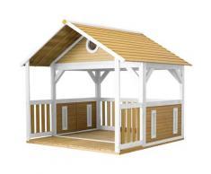 Zazou Maison Enfant en Bois FSC | Maison de Jeux pour l'extérieur / Jardin en marron & blanc |