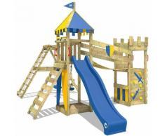 WICKEY Aire de jeux Portique bois Smart Legend 150 avec balançoire et toboggan bleu Maison enfant