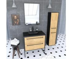Aurlane - Ensemble Meuble de salle de bain blanc 80cm + vasque noir effet pierre + miroir + colonne