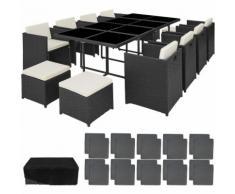 Tectake - Salon de Jardin NOUVELLE ORLEANS Résine Tressée et Aluminium Encastrable 1 Table 8