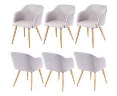 6x chaise de salle à manger HHG-190, chaise de cuisine, design rétro, accoudoirs, tissu ~ gris