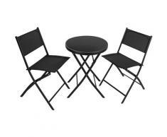 Salon de Jardin DÜSSELDORF 2 Personnes 1 Table et 2 Chaises Pliables en Acier et Textilène Noir