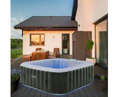 Carré gonflable de massage bien-être de piscine de spa extérieur avec LED - Arebos