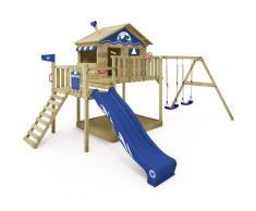 Aire de jeux Portique bois Smart Coast avec balançoire et toboggan bleu Maison enfant sur pilotis
