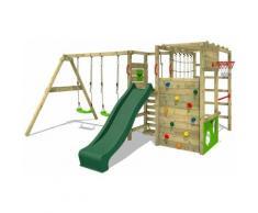 Aire de jeux Portique bois ActionArena avec balançoire et toboggan vert Échafaudage grimpant avec