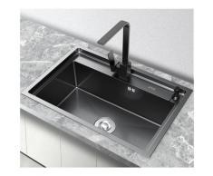 Kroos ® - Evier en inox noir à encastrer avec un égouttoir & distributeur de savon - 63 x 50 cm