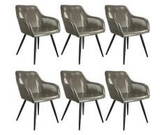 Tectake - Lot de 6 chaises cuir synthétique MARILYN - Chaise, chaise de salle à manger, chaise de