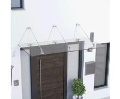Auvent marquise de porte, 180 x 90 cm, Davita, verre véritable 12 mm, fixations inox