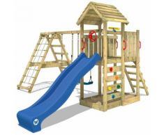 Aire de jeux Portique bois RocketFlyer avec balançoire et toboggan bleu Maison enfant exterieur