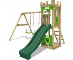 Aire de jeux Portique bois TreasureTower avec balançoire et toboggan vert Maison enfant exterieur