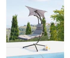 Ticana : fauteuil de jardin suspendu gris avec auvent