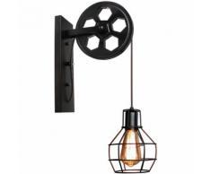 Rétro Vintage Applique Murale Industrielle E27 Lampe Abat-jour Cage Métal(Lot de 2)