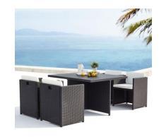 Sunset 4 : salon de jardin encastrable 4 places en résine tressée et aluminium noir/blanc