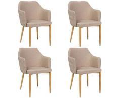 ASTOP - Lot de 4 chaise style glamour - 84x46x46 cm - Tissu haute qualité - Chaise élégante - Beige