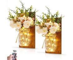 Appliques Murales Rustiques Suspendues Mason Jar Mur Lumière avec Crochets en Fer Forgé en LED