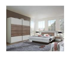 Pegane - Chambre à coucher complète adulte (lit 140x190 cm + 2 chevets + armoire) coloris blanc/